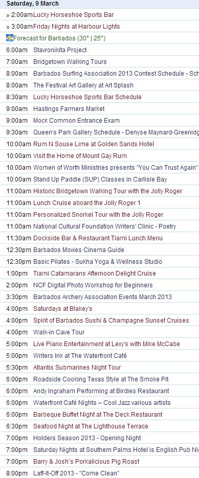 What to do in Barbados on Saturday March 9th, 2013