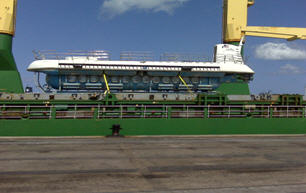 Atlantis XV arrives in the Bridgetown Port aboard the MV Karin