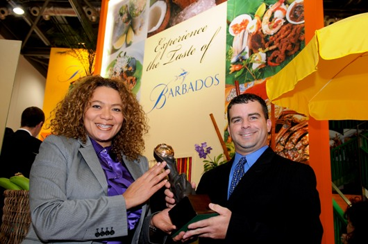 Brett Callaghan of Totally Barbados receiving the World Travel Award for 2008