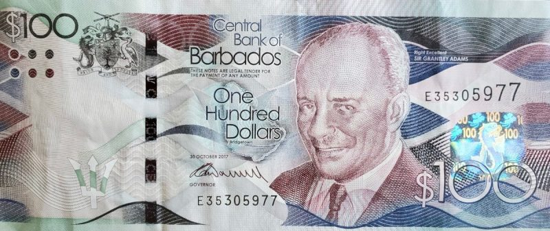 One Hundred ($100) Barbados Dollars