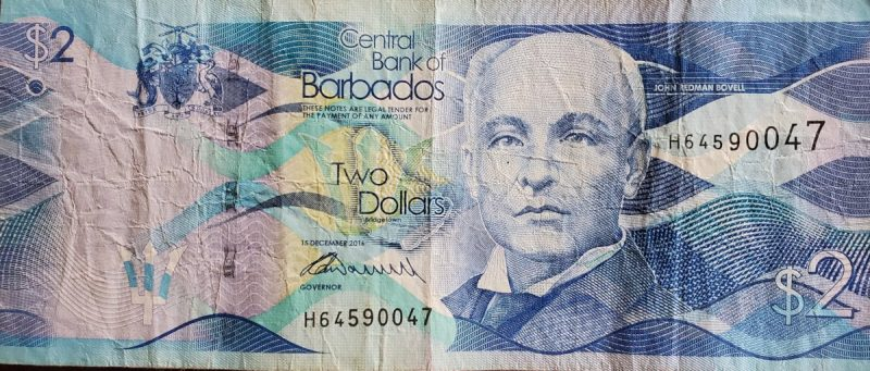 Two ($2) Barbados Dollars