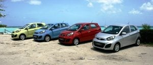 Compact cars come in all colours at Bajan Car Rentals.