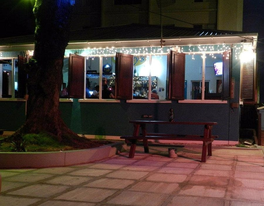 Enjoy the casual outdoor seating at Blakey's on the boardwalk.