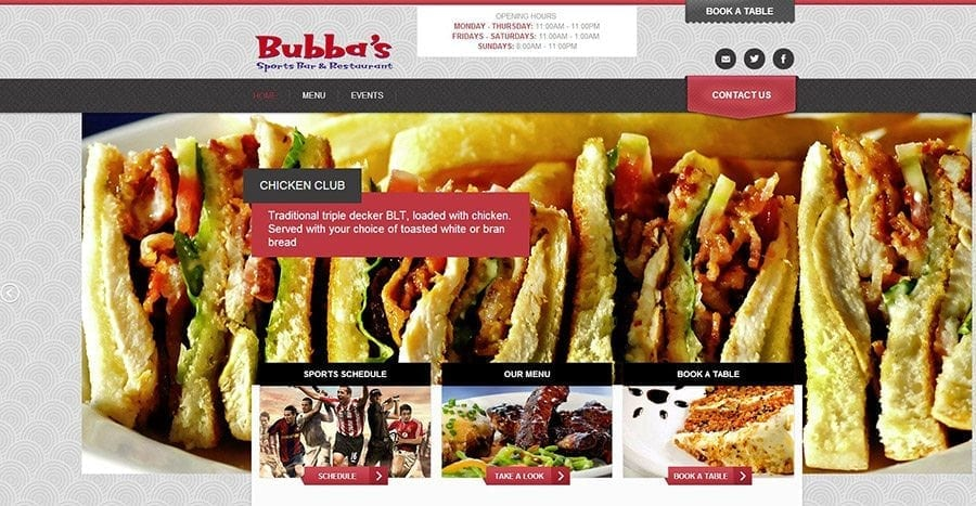 Check out all menus and specials online on the Bubba's website.
