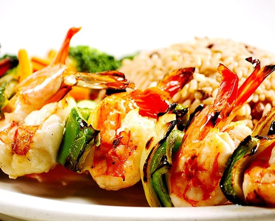 Shrimp Kebabs, lobster Tail, 'Catch of the day',Dolphin & Flying fish all served at Bubba's.