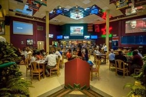 Live Sports Action - 10 ft screens at Bubba's Sports Bar & Restaurant.