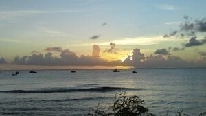 Miri-Joy Apartments beautiful Barbados sunset over the Caribbean Sea.