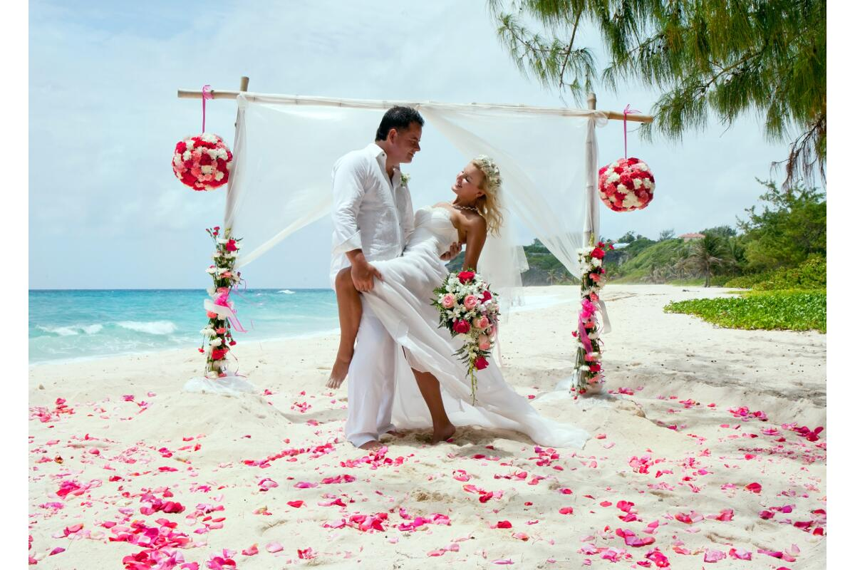 A barefoot Barbados beach wedding is a popular choice for many couples.