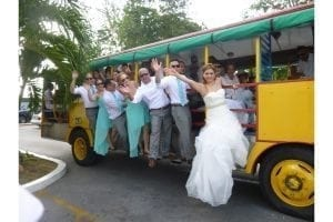 "Transport your wedding guests in ""old time Barbados style""."
