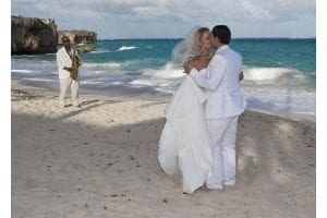 Beautiful barefoot Barbados beach wedding serenade.