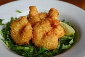 Lucky Horseshoe Barbados Fried Shrimp: Caribbean shrimp fried with a sweet chili dip.