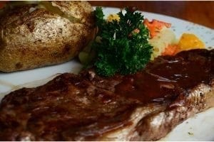 Lucky Horseshoe Barbados New Yorker Steak : A center-cut 10oz striploin grilled how you like it..