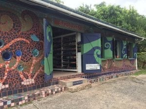 Entrance to Earthworks Pottery in Barbados.