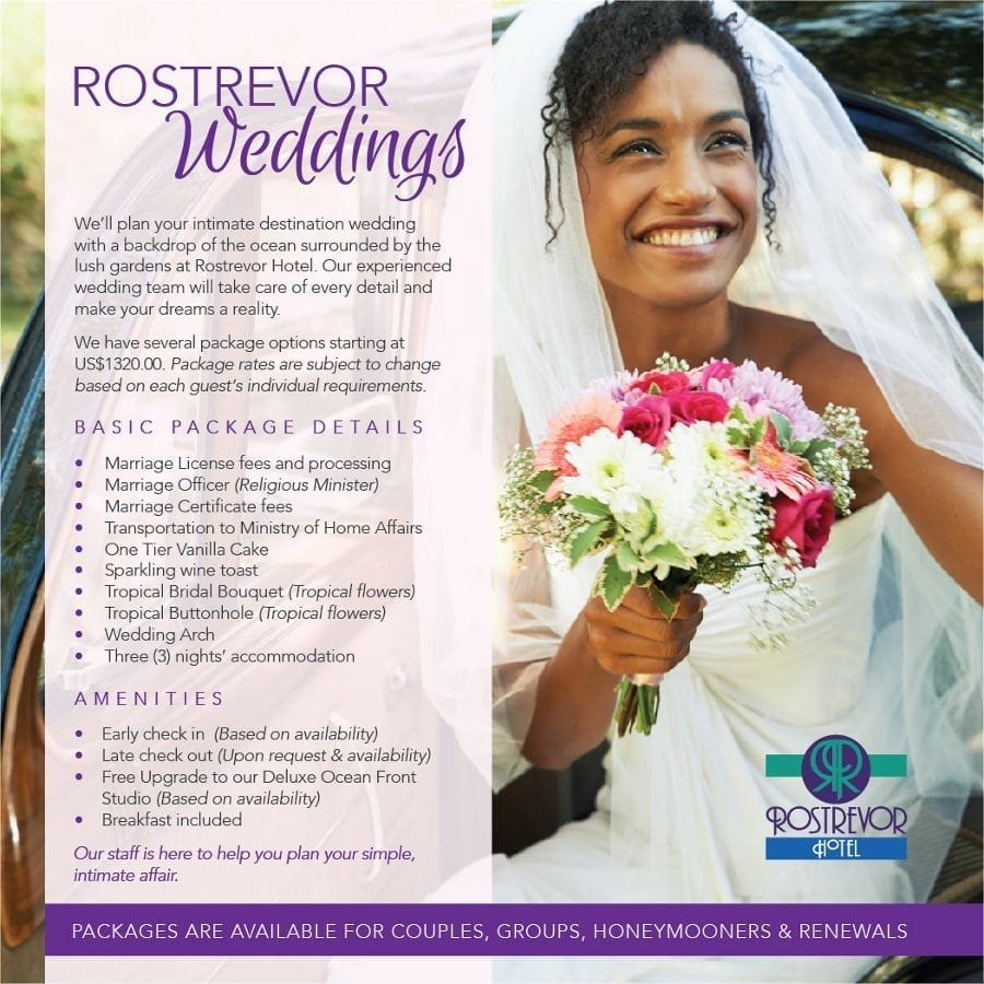 Couples, Groups, Honeymooners and Wedding Vow Renewals can all be arranged with Rostrevor Weddings in Barbados.