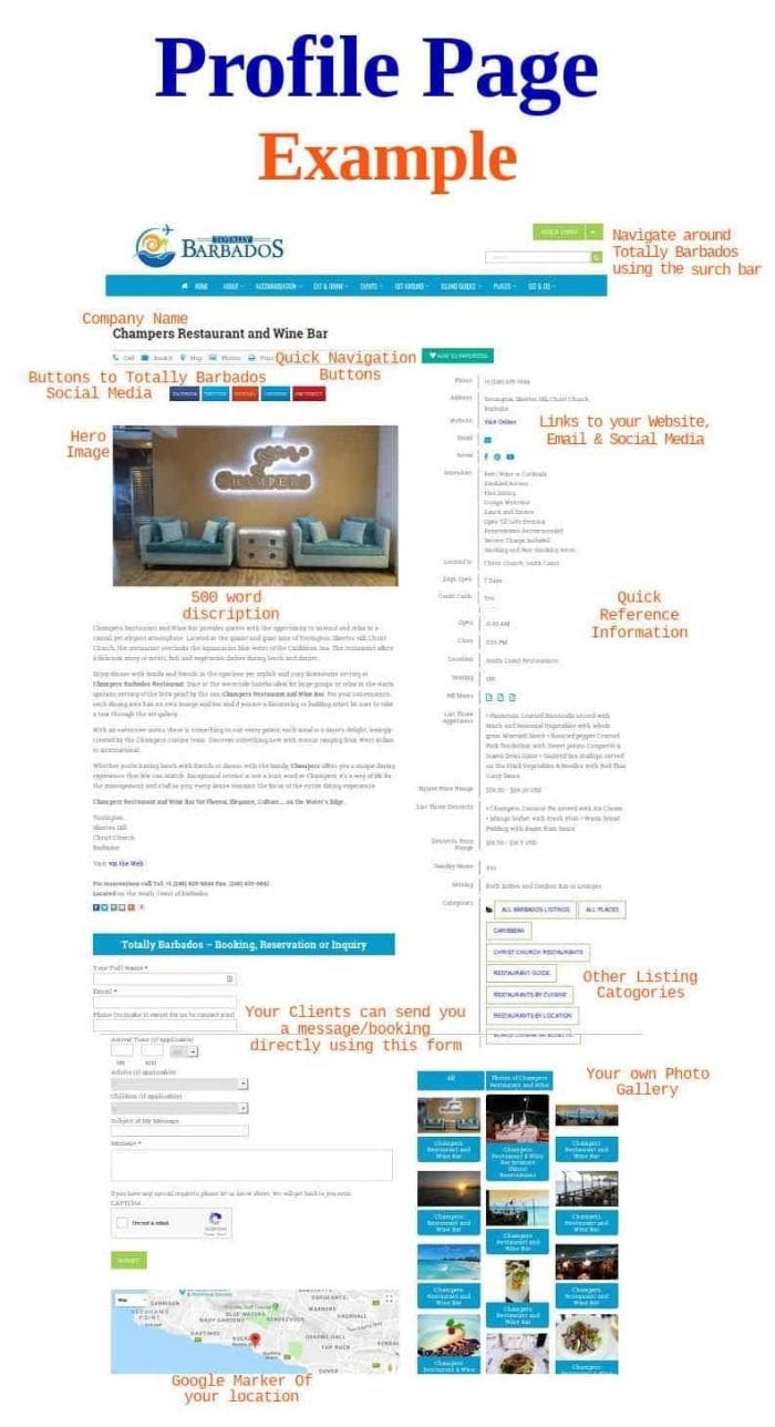 Example of Profile Page Listing