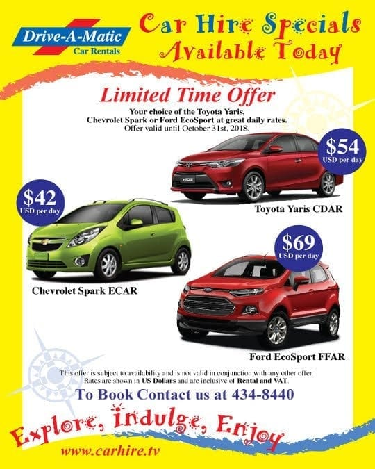 Special Offers now available at Drive-A-Matic Car Rentals.