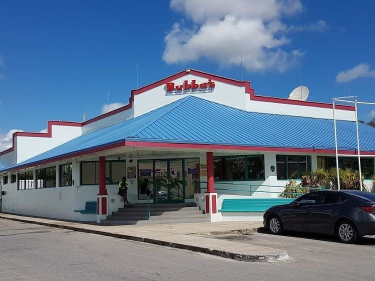 Front entrances of Bubbas Sports Bar and Restaurant on the souht coast of Barbados.