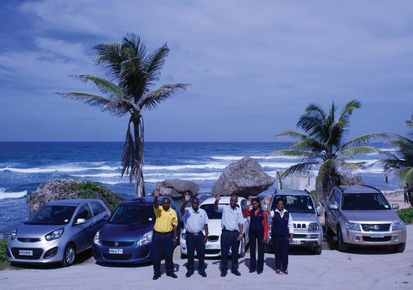 Staff of Drive-A-Matic Car Rentals in Barbados.