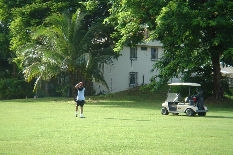 Take a break from the pool for a round of golf at Rockley Golf Course in Barbados.