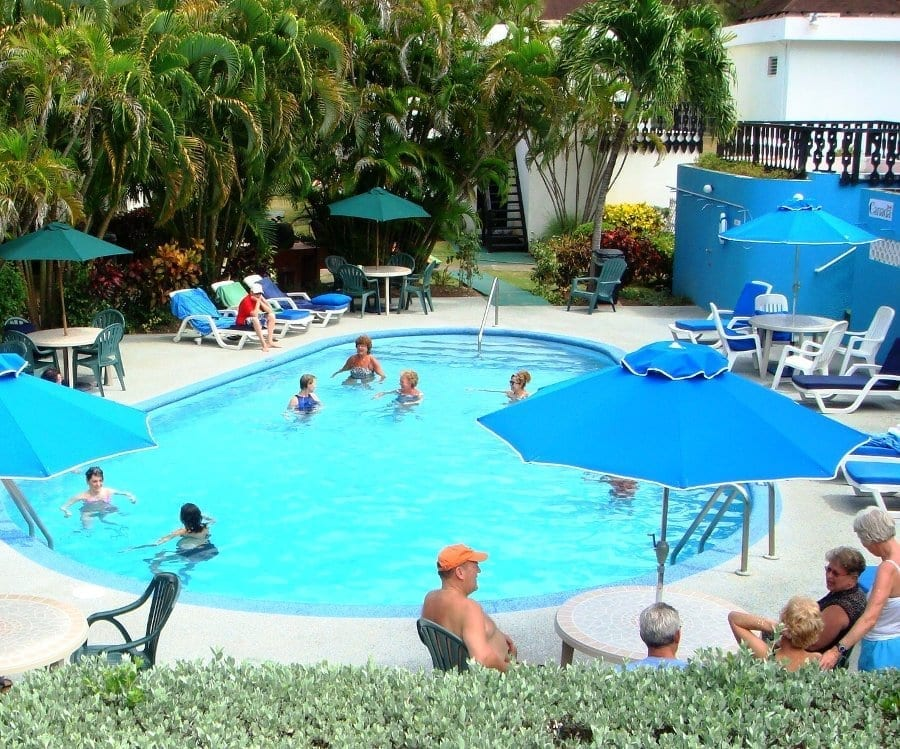 Cool off in the Plum Tree Club pool in Barbados.