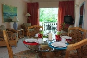 Fully furnished living room with Wi-Fi when staying at Plum Tree Club Apartments in Barbados.