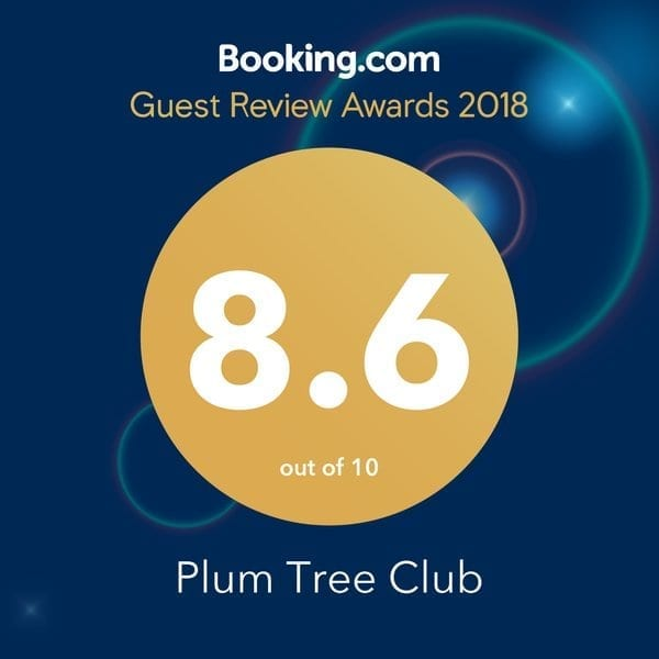 2018 Guest Review Award from BOOKING dot com - Plum Tree Club Apartments in recognition of hard work day after day, guest after guest.