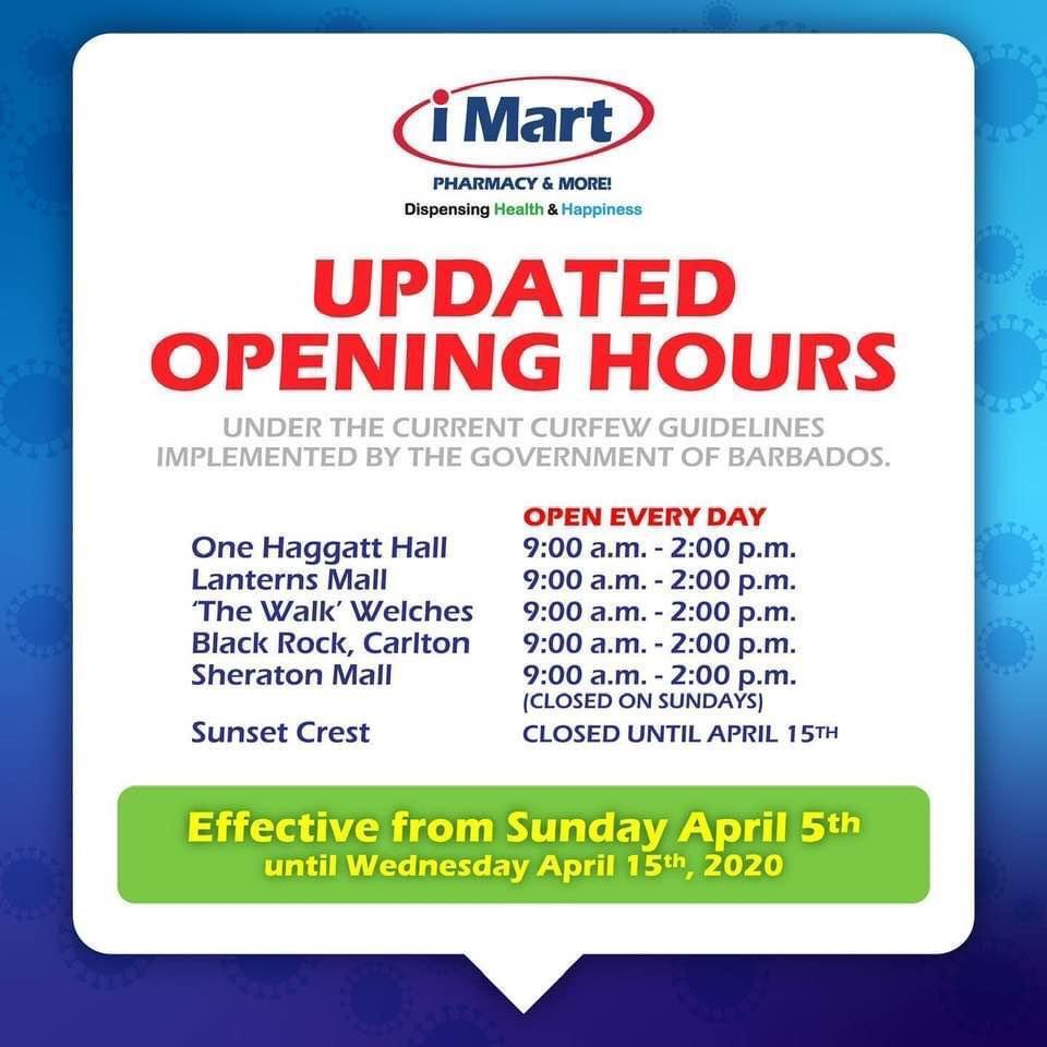 iMart Phramacy Updated Opening Hours