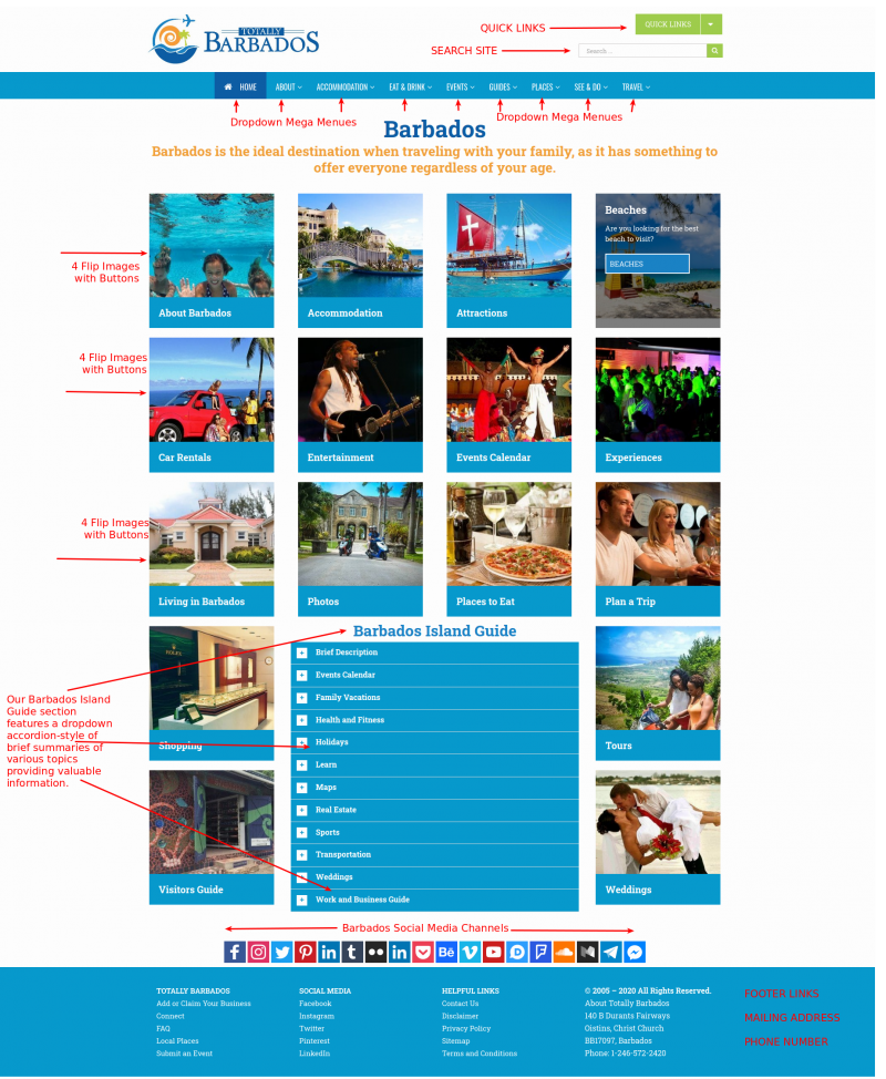 Screenshot of Totally Barbados Homepage