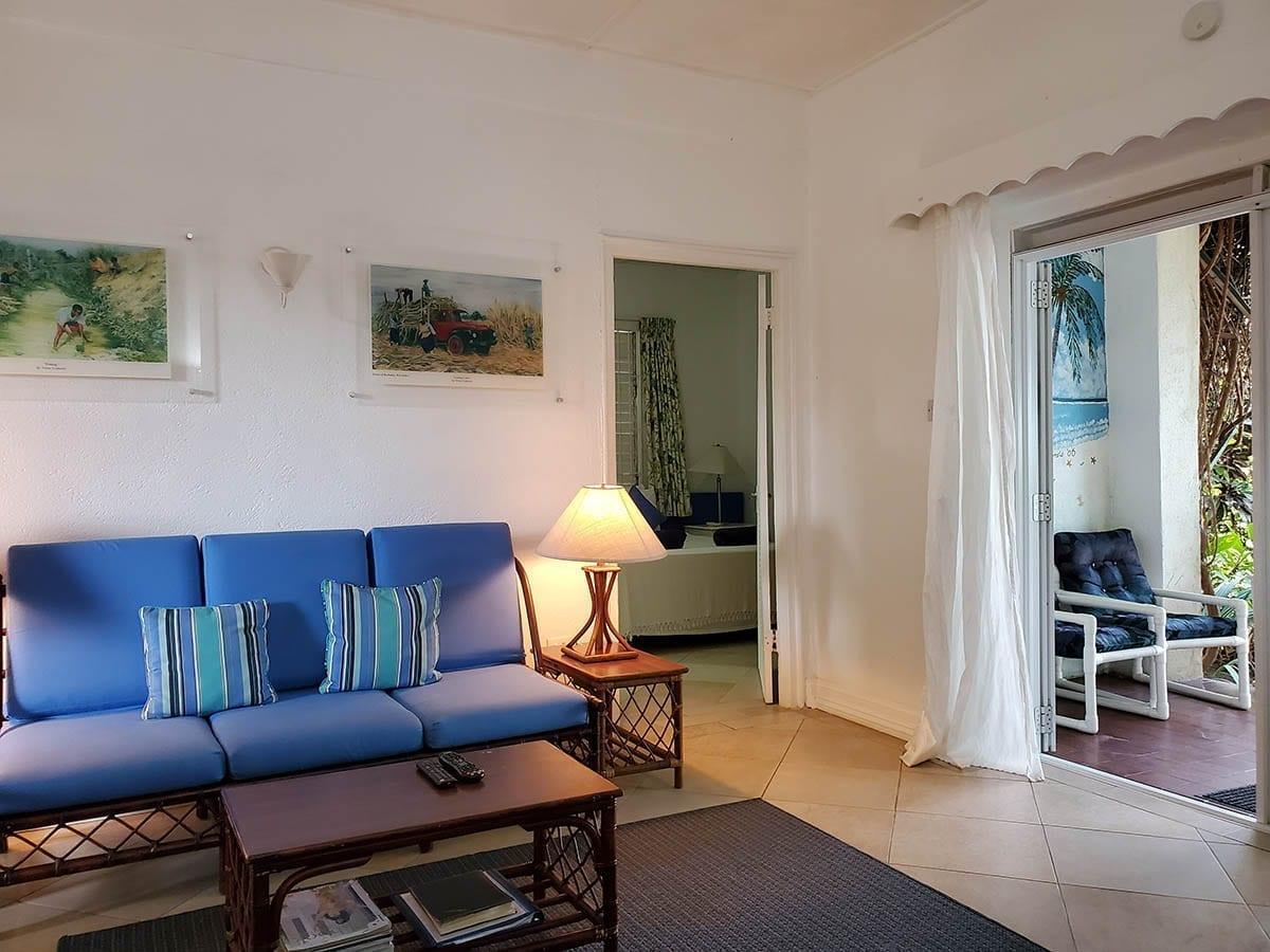 Patio, Living Room, and Door to Bedroom